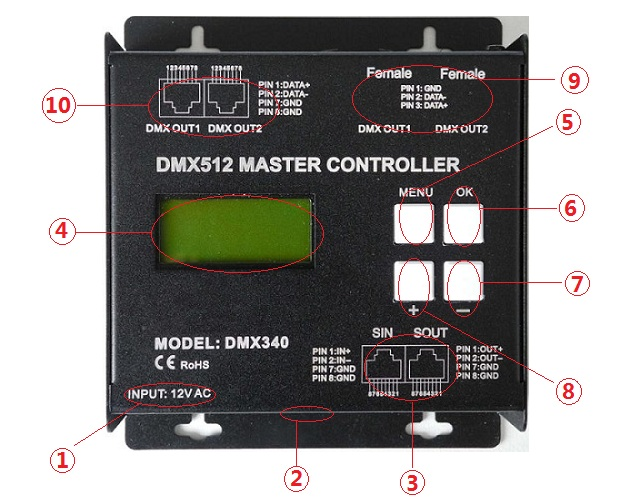 SD Card Type DMX512 Master Controller Offline Buttons / Remote Control Mode